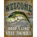 Tin Signs Welcome Bass Fishing