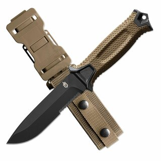 Gerber Strongarm Gürtelmesser mit 420 Stahlklinge und coyote brauner TPR-Griff