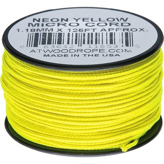 Atwood Rope MFG - Micro Cord Hightech-Schnur in neongelb, 1,18 mm, 38 Meter