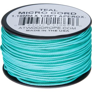 Atwood Rope MFG - Micro Cord Hightech-Schnur in blaugrün, 1,18 mm, 38 Meter