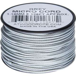 Atwood Rope MFG - Micro Cord Hightech-Schnur in grau, 1,18 mm, 38 Meter